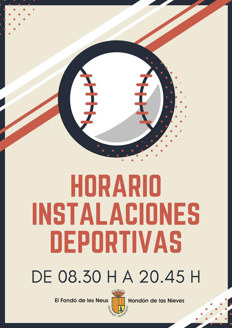 Cartel horario instalaciones deportivas