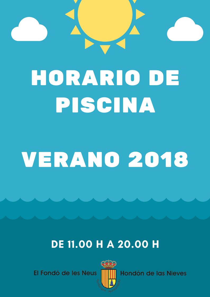 Cartel horario piscina 2018