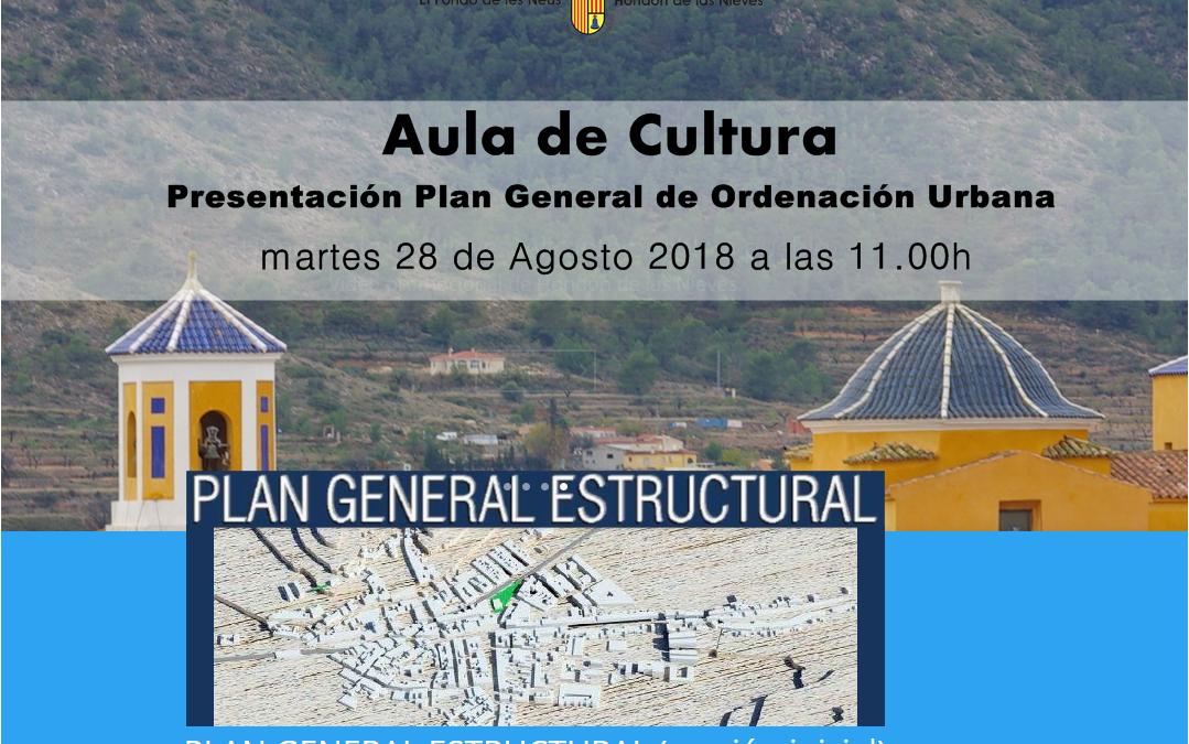 Presentación Plan General 28/8 a las 11h