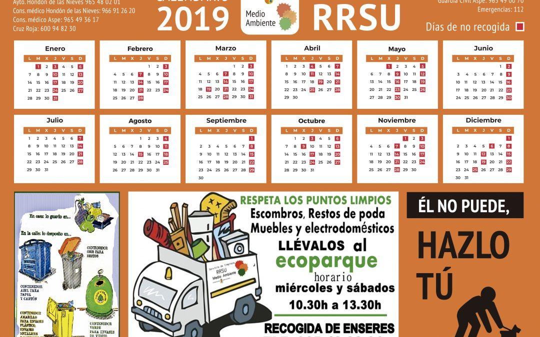 Calendario residuos 2019
