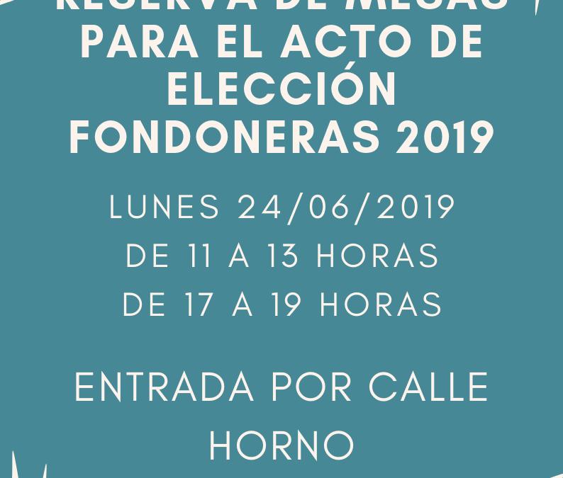 Reserva de mesas para acto Elección Fondoneras 2019
