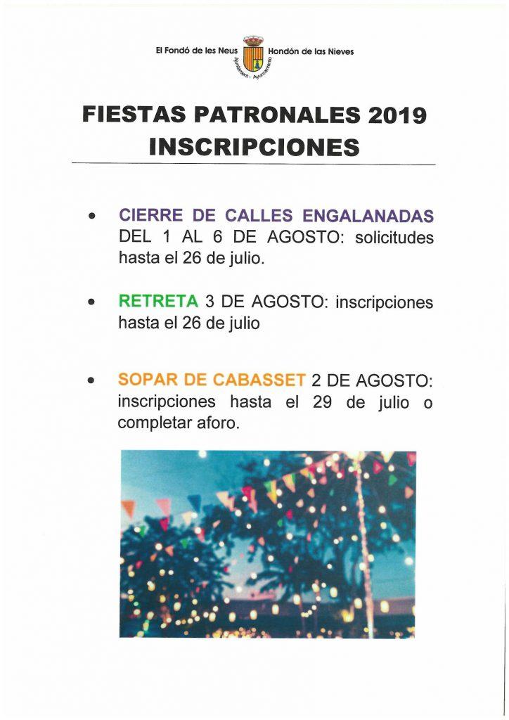 Cartel inscripciones fiestas 2019