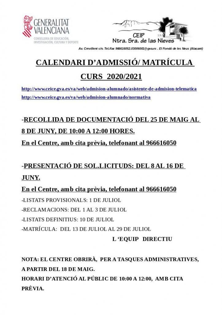 CARTEL MATRICULA CURSO 2020/2021