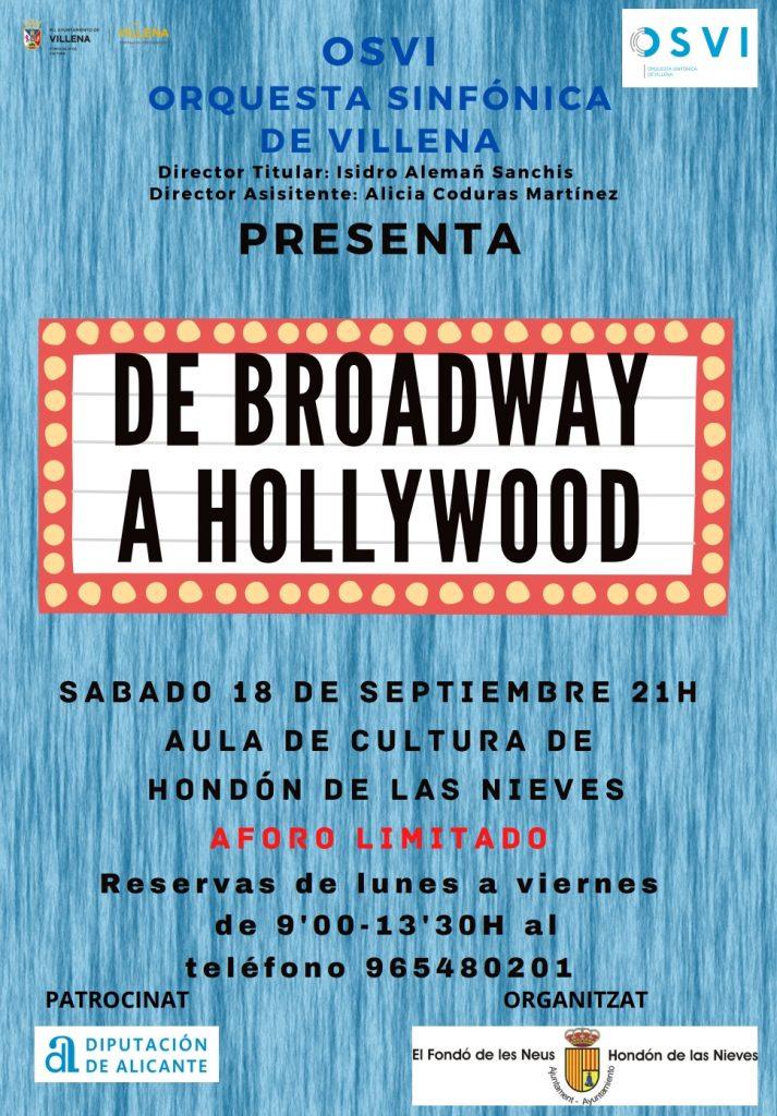 """Cartel concierto """"De Brodway a Hollywood"""""""